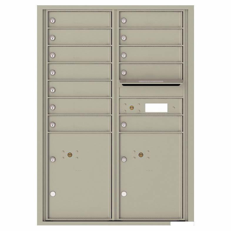 Florence Versatile Front Loading 4C Commercial Mailbox with 12 tenants 2 parcels 4C12D-12 Postal Grey