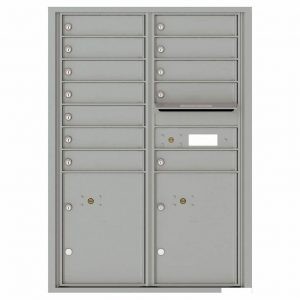 Florence Versatile Front Loading 4C Commercial Mailbox with 12 tenants 2 parcels 4C12D-12 Silver Speck