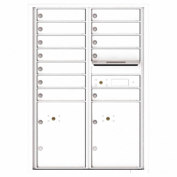 Florence Versatile Front Loading 4C Commercial Mailbox with 12 tenants 2 parcels 4C12D-12 White