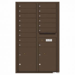 Florence Versatile Front Loading 4C Commercial Mailbox with 16 Tenant Compartments and 2 Parcel Lockers 4C14D-16 Antque Bronze