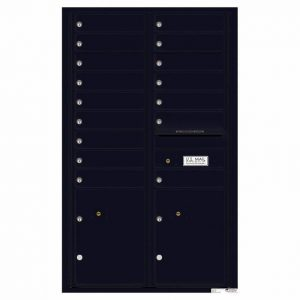 Florence Versatile Front Loading 4C Commercial Mailbox with 16 Tenant Compartments and 2 Parcel Lockers 4C14D-16 Black