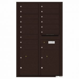 Florence Versatile Front Loading 4C Commercial Mailbox with 16 Tenant Compartments and 2 Parcel Lockers 4C14D-16 Dark Bronze