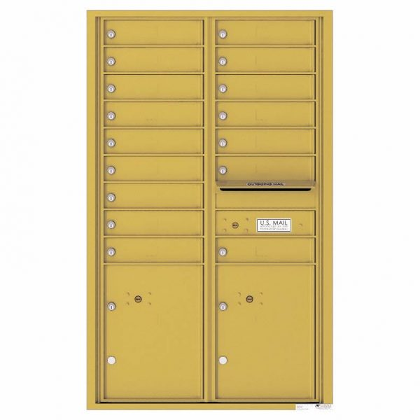 Florence Versatile Front Loading 4C Commercial Mailbox with 16 Tenant Compartments and 2 Parcel Lockers 4C14D-16 Gold Speck