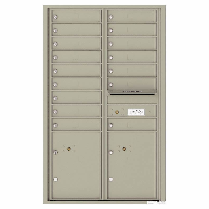 Florence Versatile Front Loading 4C Commercial Mailbox with 16 Tenant Compartments and 2 Parcel Lockers 4C14D-16 Postal Grey