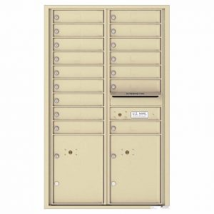 Florence Versatile Front Loading 4C Commercial Mailbox with 16 Tenant Compartments and 2 Parcel Lockers 4C14D-16 Sandstone