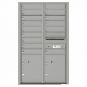 Florence Versatile Front Loading 4C Commercial Mailbox with 16 Tenant Compartments and 2 Parcel Lockers 4C14D-16 Silver Speck