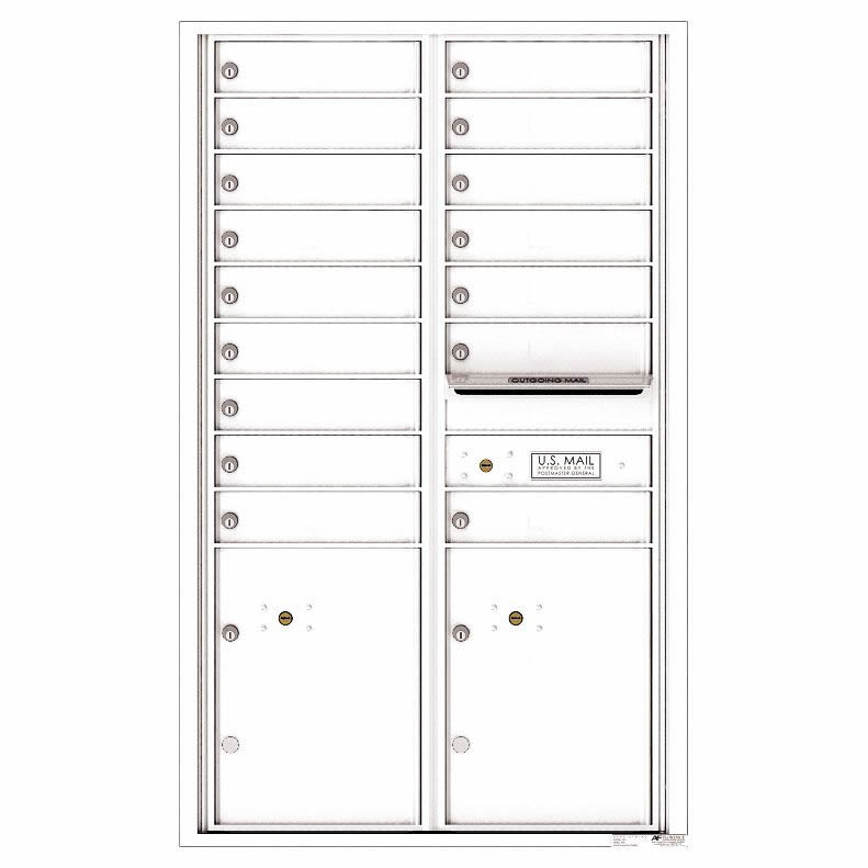 Florence Versatile Front Loading 4C Commercial Mailbox with 16 Tenant Compartments and 2 Parcel Lockers 4C14D-16 White