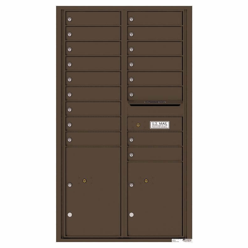 Florence Versatile Front Loading 4C Commercial Mailbox with 17 Tenant Compartments and 2 Parcel Lockers Antque Bronze