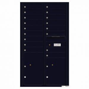 Florence Versatile Front Loading 4C Commercial Mailbox with 17 Tenant Compartments and 2 Parcel Lockers Black
