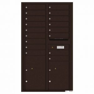 Florence Versatile Front Loading 4C Commercial Mailbox with 17 Tenant Compartments and 2 Parcel Lockers Dark Bronze