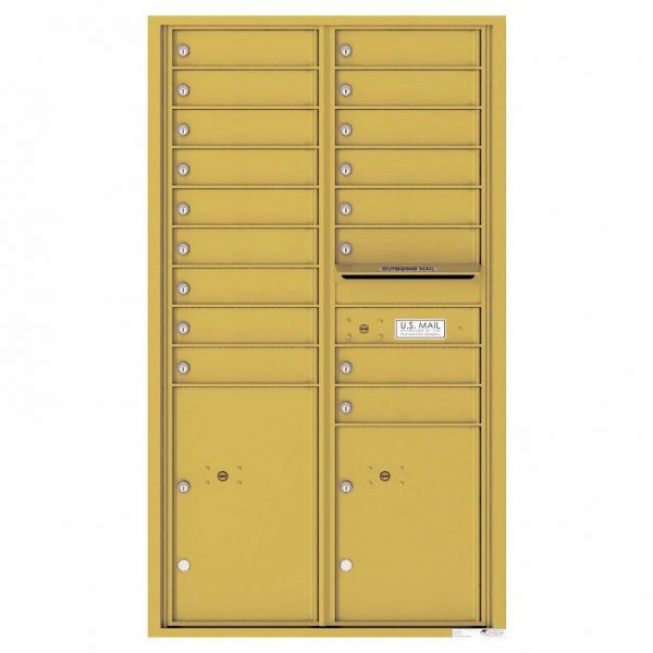 Florence Versatile Front Loading 4C Commercial Mailbox with 17 Tenant Compartments and 2 Parcel Lockers Gold Speck