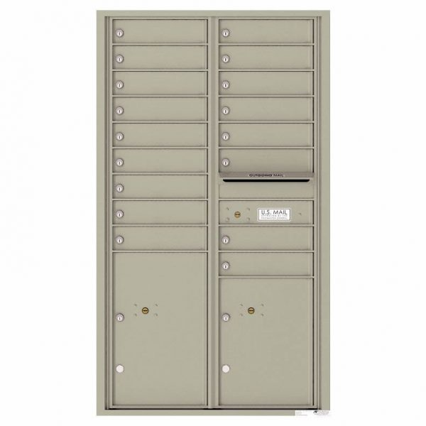 Florence Versatile Front Loading 4C Commercial Mailbox with 17 Tenant Compartments and 2 Parcel Lockers Postal Grey
