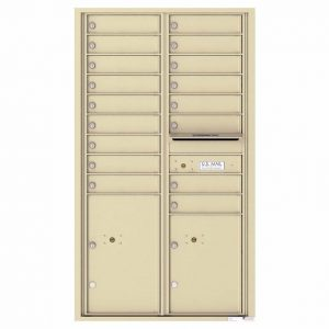 Florence Versatile Front Loading 4C Commercial Mailbox with 17 Tenant Compartments and 2 Parcel Lockers Sandstone