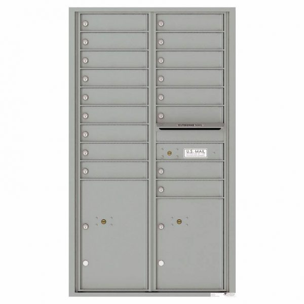 Florence Versatile Front Loading 4C Commercial Mailbox with 17 Tenant Compartments and 2 Parcel Lockers Silver Speck