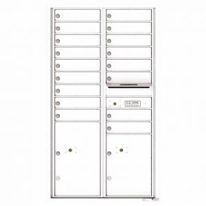 Florence Versatile Front Loading 4C Commercial Mailbox with 17 Tenant Compartments and 2 Parcel Lockers White