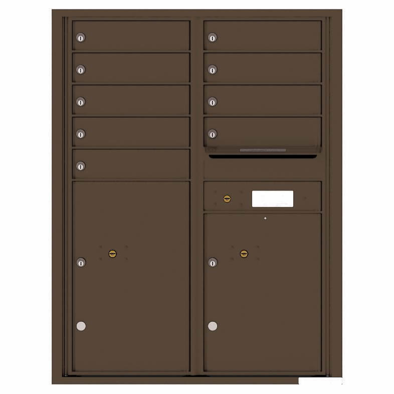 Florence Versatile Front Loading 4C Commercial Mailbox with 9 Tenant Compartments and 2 Parcel Lockers 4C11D-09 Antique Bronze