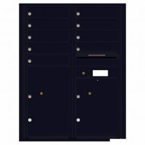 Florence Versatile Front Loading 4C Commercial Mailbox with 9 Tenant Compartments and 2 Parcel Lockers 4C11D-09 Black