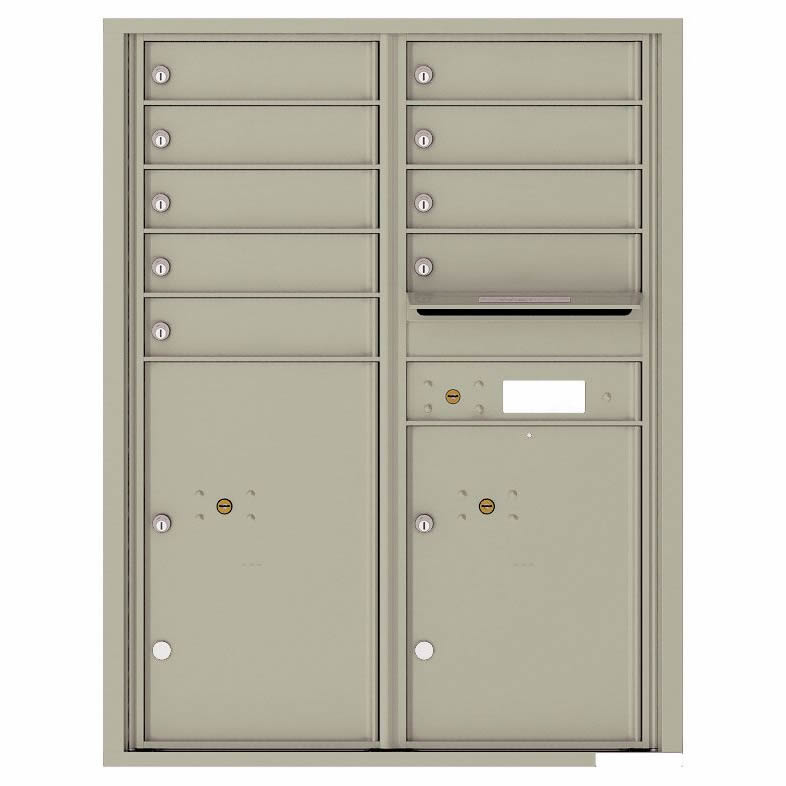 Florence Versatile Front Loading 4C Commercial Mailbox with 9 Tenant Compartments and 2 Parcel Lockers 4C11D-09 Postal Grey