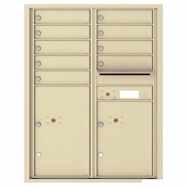 Florence Versatile Front Loading 4C Commercial Mailbox with 9 Tenant Compartments and 2 Parcel Lockers 4C11D-09 Sandstone