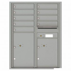 Florence Versatile Front Loading 4C Commercial Mailbox with 9 Tenant Compartments and 2 Parcel Lockers 4C11D-09 Silver Speck