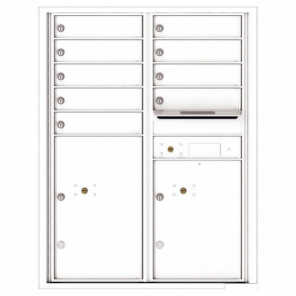 Florence Versatile Front Loading 4C Commercial Mailbox with 9 Tenant Compartments and 2 Parcel Lockers 4C11D-09 White