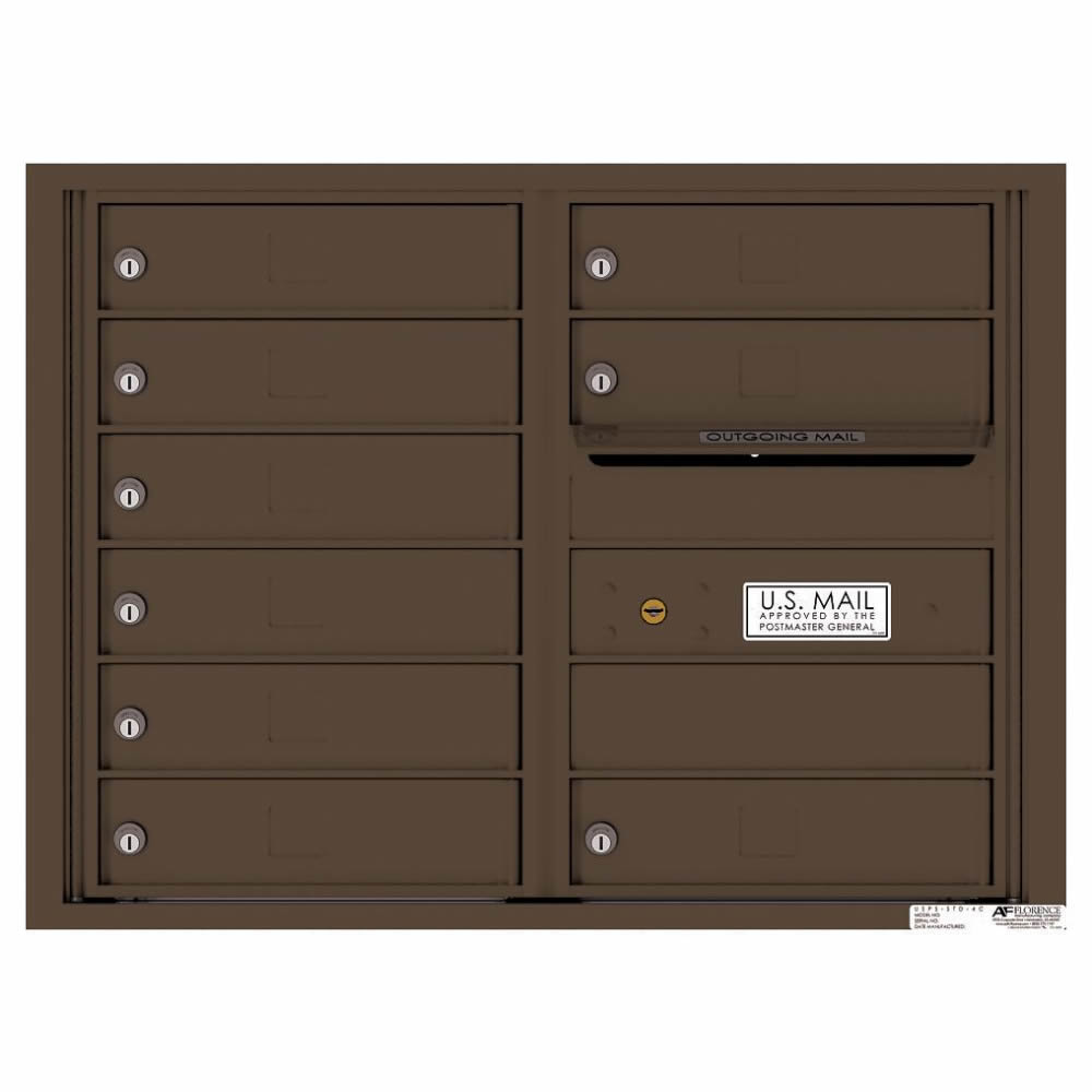 Florence Versatile Front Loading 4C Commercial Mailbox with 9 tenant Compartments 4C06D-09 Antique Bronze