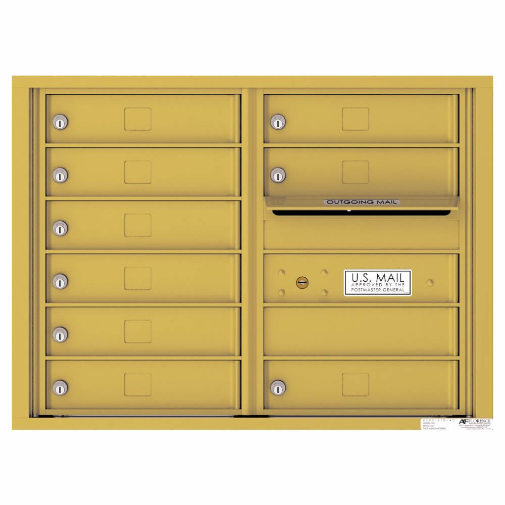 Florence Versatile Front Loading 4C Commercial Mailbox with 9 tenant Compartments 4C06D-09 Gold Speck