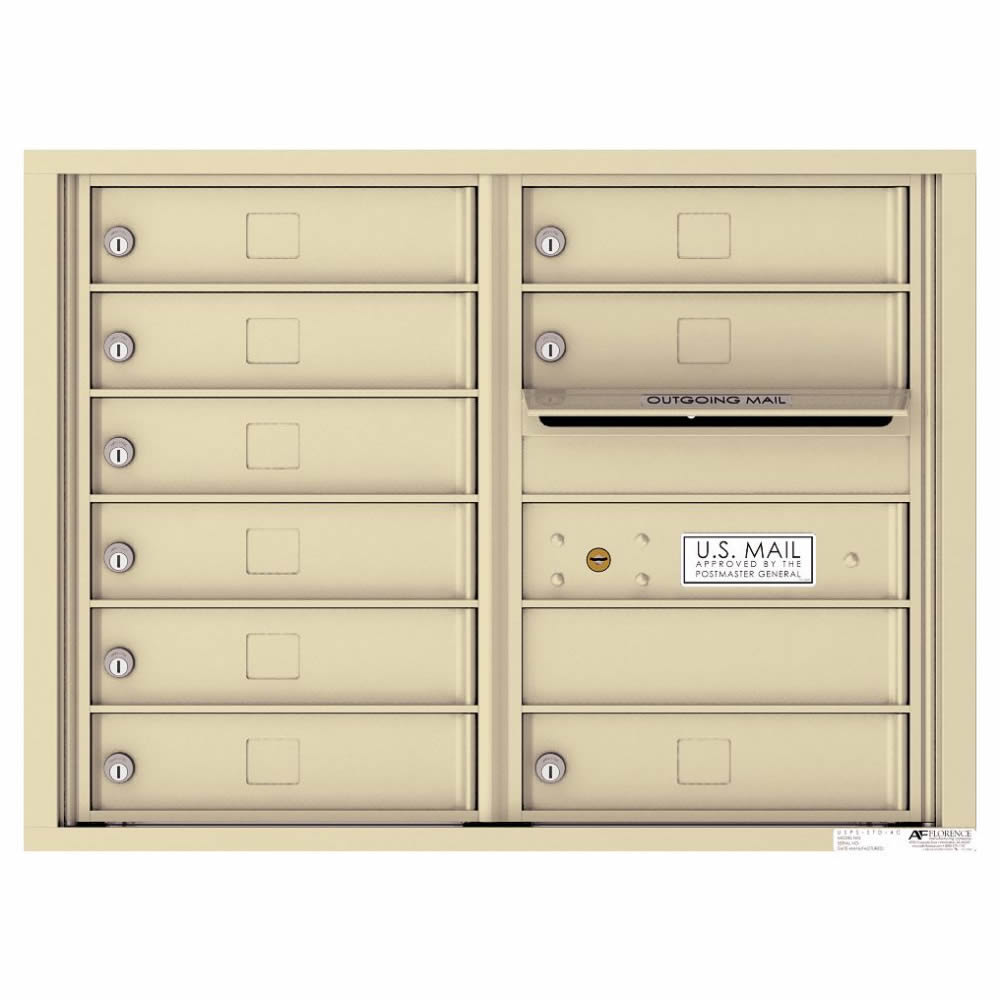 Florence Versatile Front Loading 4C Commercial Mailbox with 9 tenant Compartments 4C06D-09 Sandstone