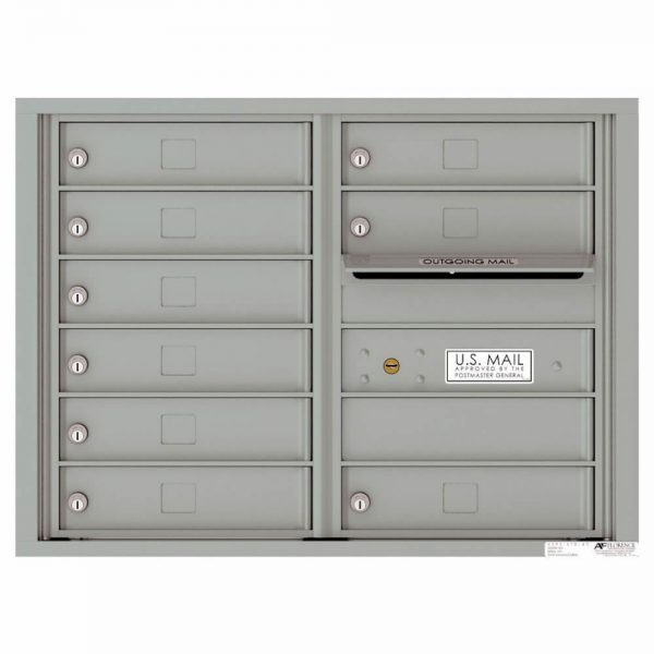 Florence Versatile Front Loading 4C Commercial Mailbox with 9 tenant Compartments 4C06D-09 Silver Speck