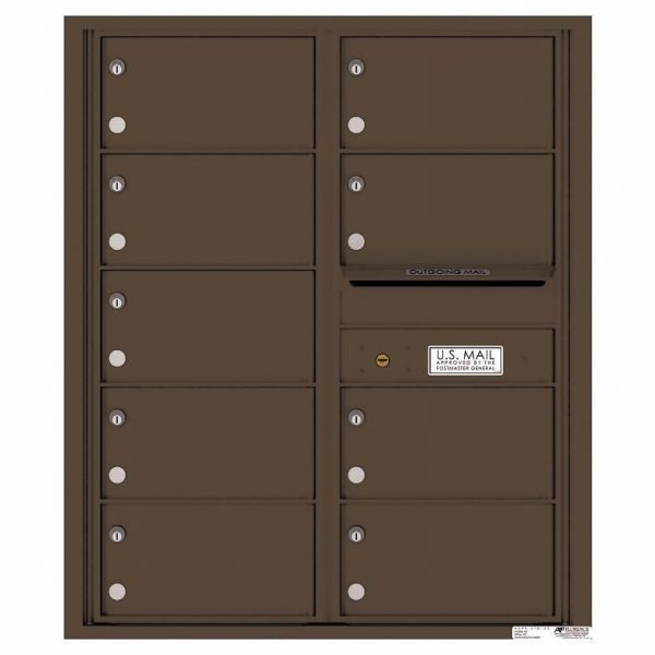 Florence Versatile Front Loading 4C Commercial Mailbox with 9 tenant Compartments 4C10D-09 Antique Bronze