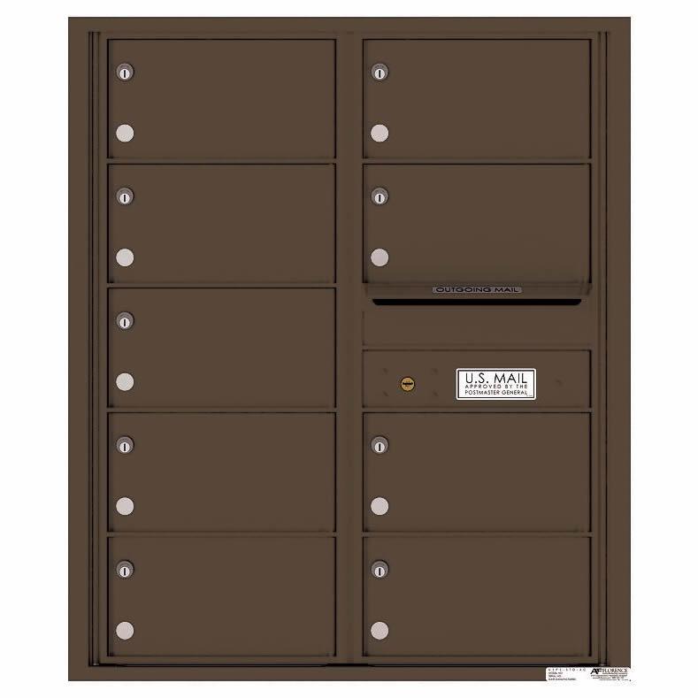 Florence Versatile Front Loading 4C Commercial Mailbox with 9 tenant Compartments 4C10D-09 Antique Bronze