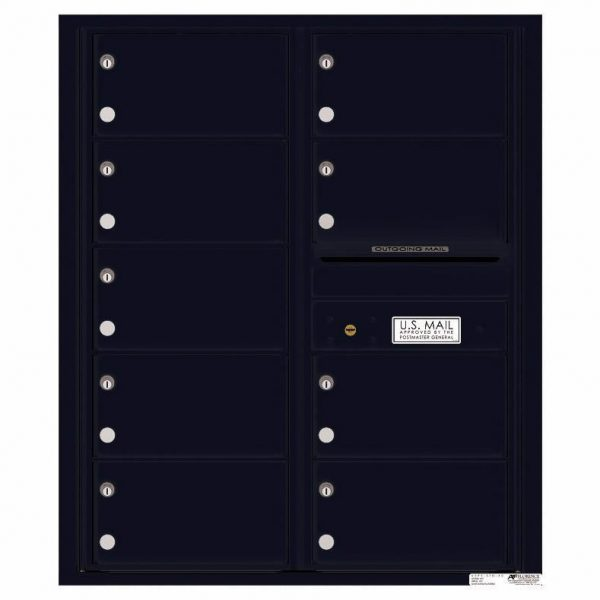 Florence Versatile Front Loading 4C Commercial Mailbox with 9 tenant Compartments 4C10D-09 Black