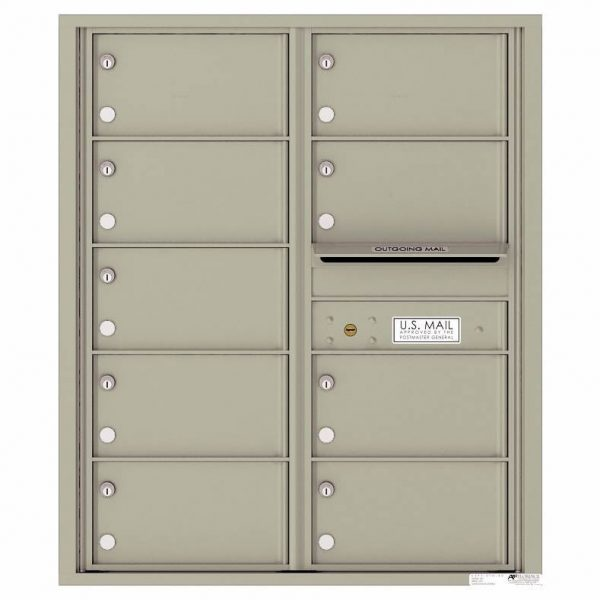 Florence Versatile Front Loading 4C Commercial Mailbox with 9 tenant Compartments 4C10D-09 Postal Grey