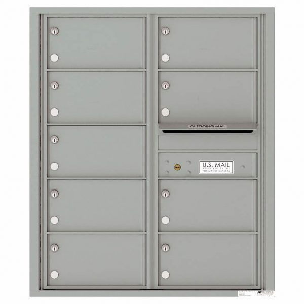 Florence Versatile Front Loading 4C Commercial Mailbox with 9 tenant Compartments 4C10D-09 Silver Speck