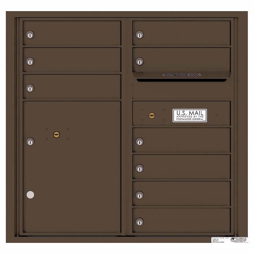 Florence Versatile Front Loading 4C Commercial Mailbox with 9 tenant Doors and 1 Parcel Locker 4C08D-09 Antique Bronze