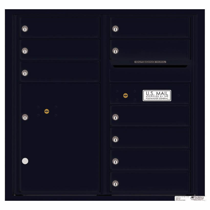 Florence Versatile Front Loading 4C Commercial Mailbox with 9 tenant Doors and 1 Parcel Locker 4C08D-09 Black