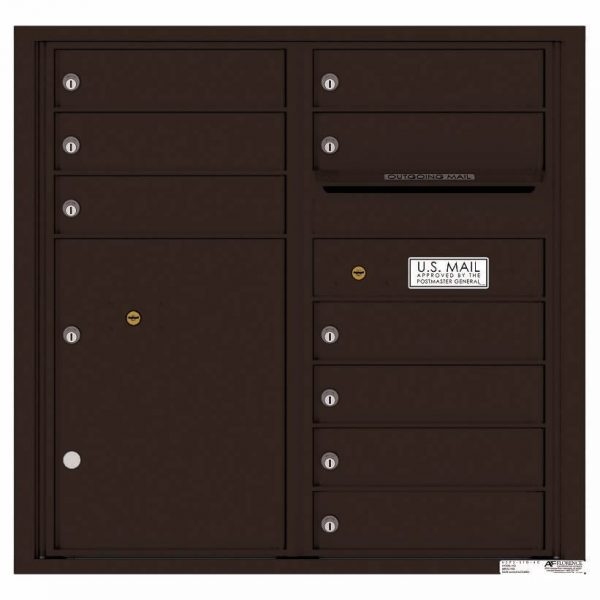 Florence Versatile Front Loading 4C Commercial Mailbox with 9 tenant Doors and 1 Parcel Locker 4C08D-09 Dark Bronze