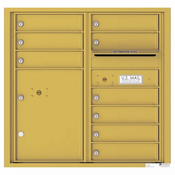 Florence Versatile Front Loading 4C Commercial Mailbox with 9 tenant Doors and 1 Parcel Locker 4C08D-09 Gold Speck