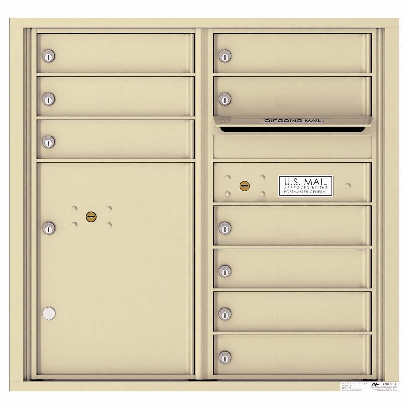 Florence Versatile Front Loading 4C Commercial Mailbox with 9 tenant Doors and 1 Parcel Locker 4C08D-09 Sandstone