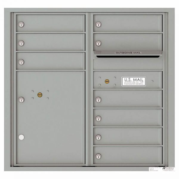Florence Versatile Front Loading 4C Commercial Mailbox with 9 tenant Doors and 1 Parcel Locker 4C08D-09 Silver Speck