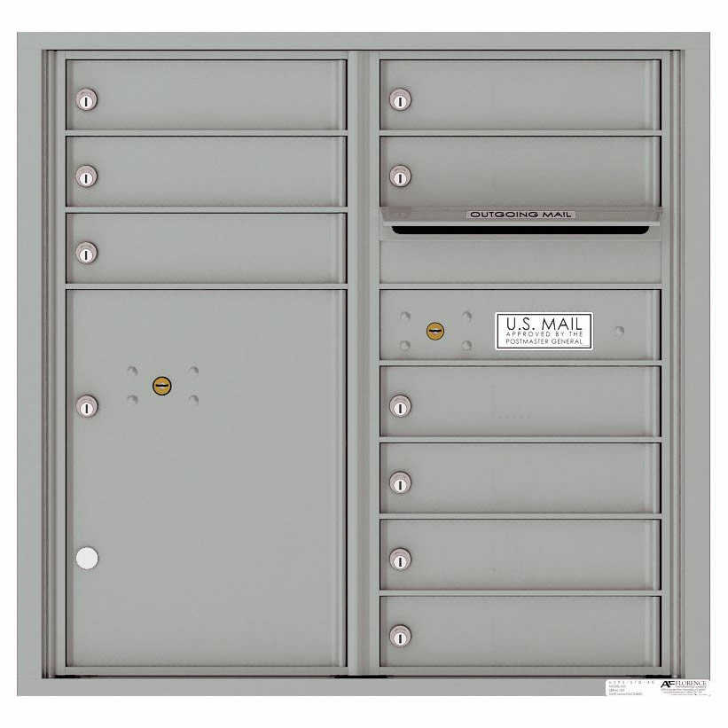 Florence Versatile Front Loading 4C Commercial Mailbox with 9 tenant Doors and 1 Parcel Locker 4C08D-09