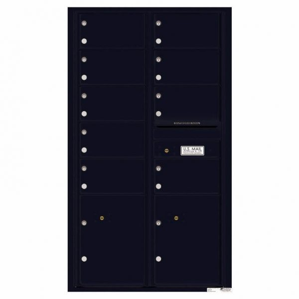 Florence Versatile Front Loading 4C Commercial Mailbox with 9 tenant Doors and 2 Parcel Locker 4C15D-09 Black