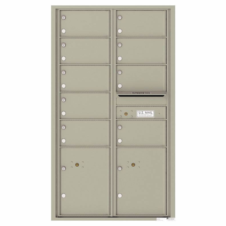 Florence Versatile Front Loading 4C Commercial Mailbox with 9 tenant Doors and 2 Parcel Locker 4C15D-09 Postal Grey