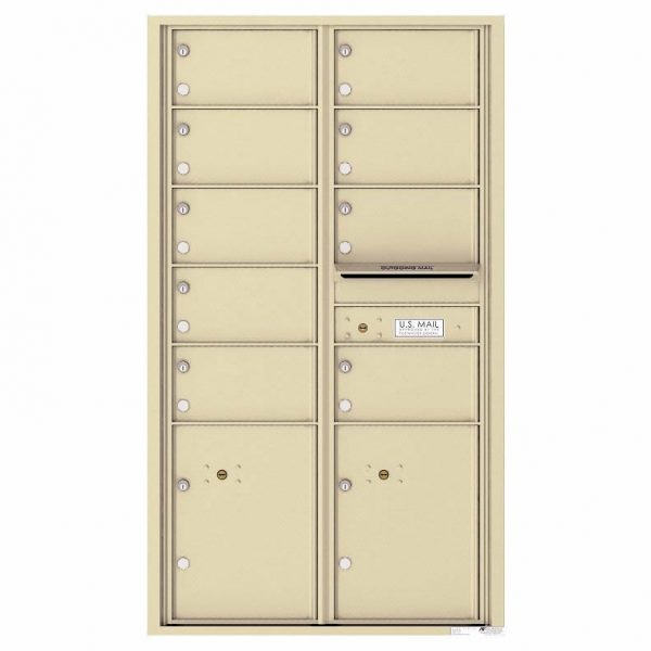 Florence Versatile Front Loading 4C Commercial Mailbox with 9 tenant Doors and 2 Parcel Locker 4C15D-09 Sandstone