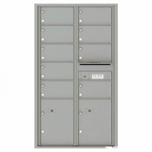 Florence Versatile Front Loading 4C Commercial Mailbox with 9 tenant Doors and 2 Parcel Locker 4C15D-09 Silver Speck