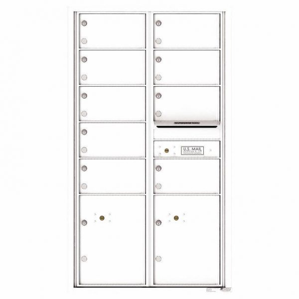Florence Versatile Front Loading 4C Commercial Mailbox with 9 tenant Doors and 2 Parcel Locker 4C15D-09 White