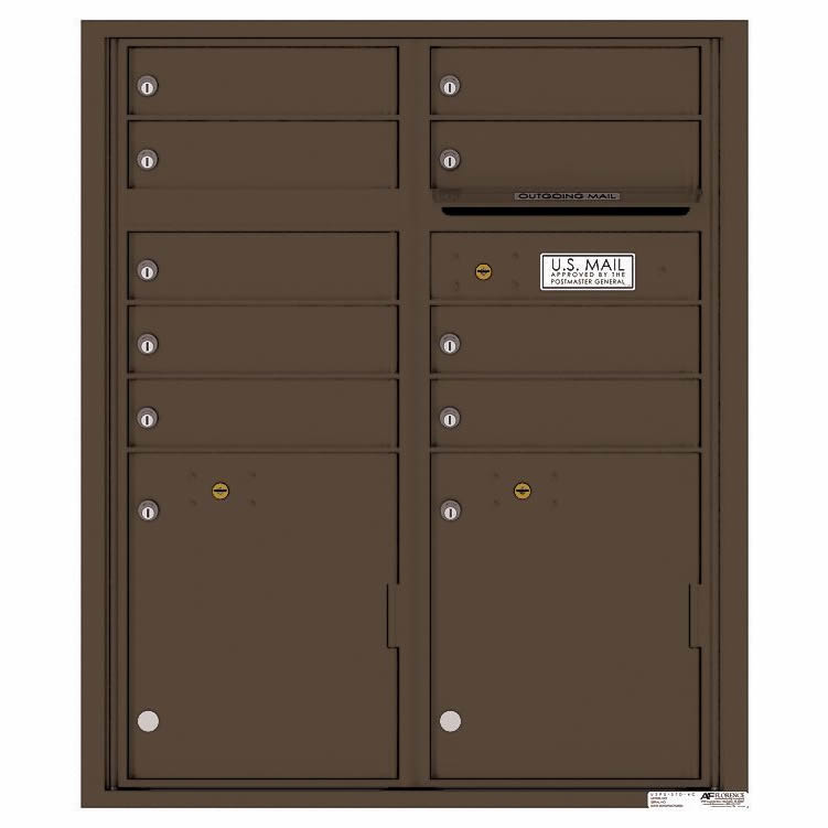 Florence Versatile Front Loading 4C Commercial Mailbox with 9 tenant Doors and 2 Parcel Lockers 4CADD-9 Antique Bronze