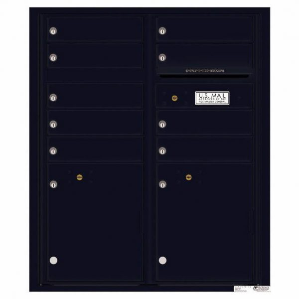 Florence Versatile Front Loading 4C Commercial Mailbox with 9 tenant Doors and 2 Parcel Lockers 4CADD-9 Black