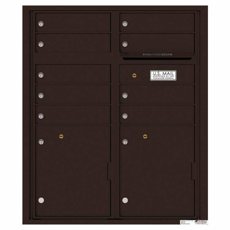 Florence Versatile Front Loading 4C Commercial Mailbox with 9 tenant Doors and 2 Parcel Lockers 4CADD-9 Dark Bronze