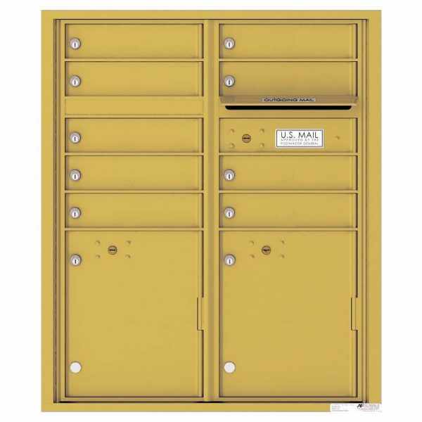 Florence Versatile Front Loading 4C Commercial Mailbox with 9 tenant Doors and 2 Parcel Lockers 4CADD-9 Gold Speck
